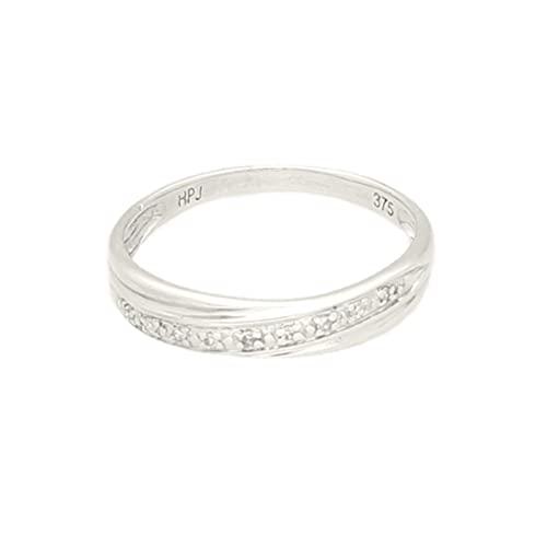 Anillo de eternidad de oro blanco de 9 quilates de 0,05 quilates (tamaño H 1/2) de 3 mm de ancho, anillo de lujo para mujer