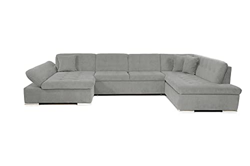 Honeypot - Sofa - Bergen - Corner - Sofa bed - Storage - Faux Leather/Fabric (All Grey, Right Hand Corner)