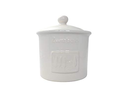 CreaTable Zwiebeltopf TOSCANA 15 cm aus Steingut weiß glasiert/Kartoffelbehälter/Vorratstopf