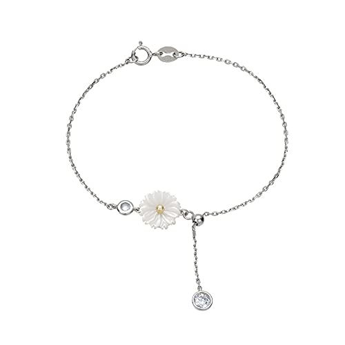 FPOJAFVN S925 Sterling Silver Small Daisy Bracelet Fashion Round Ball Tassel Pullable Bracelet Jewelry Gifts for Women Girls Christmas,Silver