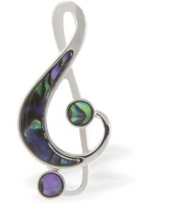 Paua Shell Natural Abalone Treble Clef Brooch, Rhodium Plated in Delicate Blue/Green (P333)