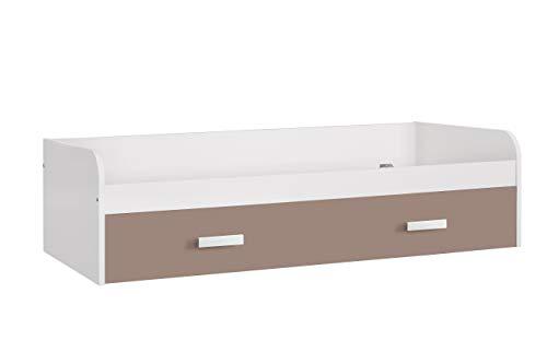 Venprodin Cama Nido Juvenil Doble, Dos Camas Color Blanco Medidas 54 x 201 x 98 cm (Alto x Ancho x Fondo) (Moka)