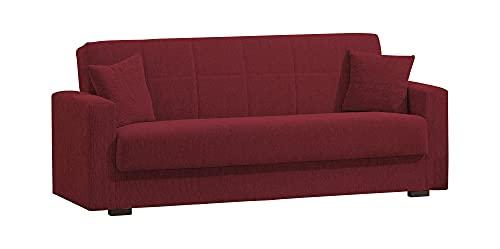 Dmora Divano Letto 3 posti con Contenitore, 212 x 80 x 87h cm, Color Rosso
