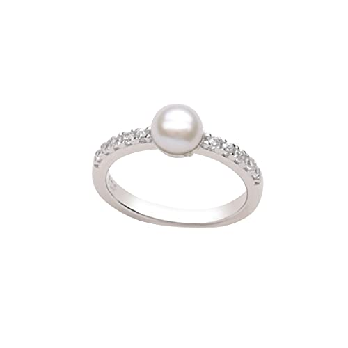 Sterling Silver Cultured Pearl Baby Ring with CZs for Kids, Toddlers and Baby Photo Prop (Size 5)