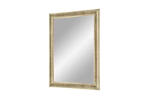 FRAMO Trend 35 - wandspiegel met frame (zilver leaf), spiegel op maat met 35 mm brede MDF-houten lijst - op maat gemaakte spiegellijst incl. spiegel en stabiele achterwand met ophanghaakjes 40 x 140 cm (Außenmaß) Zilver Leaf