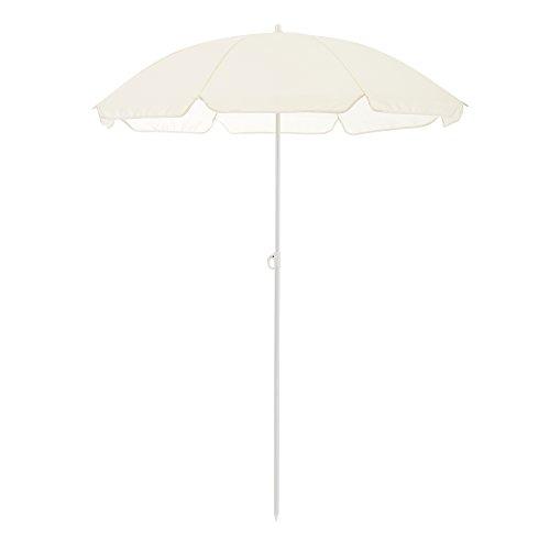 [casa.pro] Strandschirm Sonnenschirm Schirm Gartenschirm Strand Creme / 164x140cm / 0,6kg / Stahl/Polyester 170T