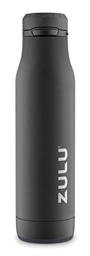 ZULU Ace Vacuum Insulated Stainless Steel Water Bottle with Removable Base - Leak Proof Lid - Antimicrobial Spout, 24 oz, Black