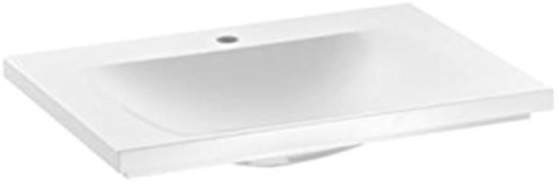 Keuco Mineralguss-Waschtisch Royal Reflex 34051316501, für 1 Loch Armaturen, wei
