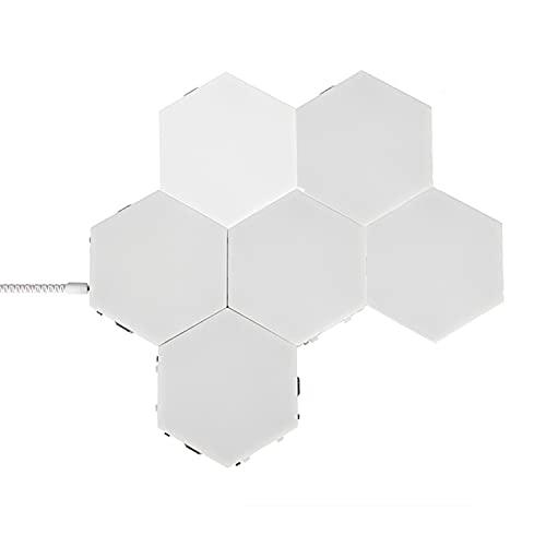 HAOXUAN Aplique de Pared Hexagonal, luz de Pared de Panal de luz cuántica RGB, luz LED táctil Modular para Bricolaje, luz de Noche geométrica Creativa, Adecuada para Sala de Estar,White Light,6psc
