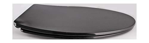 Grünblatt WC Sitz Slim Design Toilettendeckel oval Klodeckel mit Quick-Release-Funktion und Geräuschlose Absenkautomatik, Hochwertige Antibakterielle Duroplast (Schwarz)