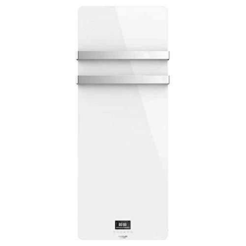 Cecotec Radiador Toallero Eléctrico Bajo Consumo Ready Warm 9870 Crystal Towel White. 850W, Pantalla LED, Doble Colgador Acero INOX, Temporizador semanal, Mando a Distancia, Protección IP24