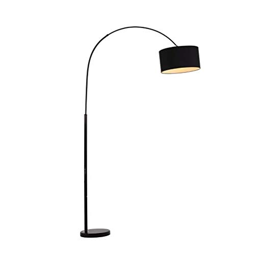 Vloerlamp LED Vloerlamp Moderne Klassieke Gebogen Vloerlamp Stof Lampenkap Zwart Marmeren Base Vloerlampen voor Slaapkamer Woonkamer Staande licht