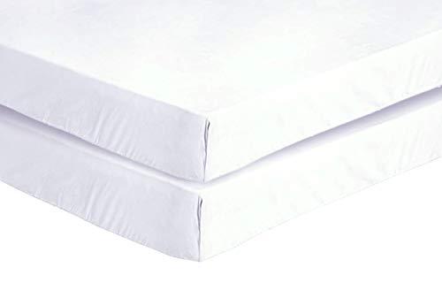 Every Thread Counts - Paquete de 2 sábanas bajeras para cuna - 100% algodón egipcio - Suave y suave, antibacteriano y antialérgico (blanco, 2 sábanas bajeras para cuna de 70 x 140 cm)