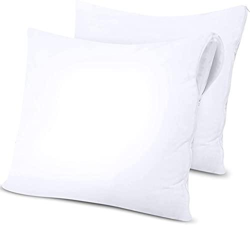 Utopia Bedding Protège-Oreiller Imperméable À Fermeture Éclair - Lot De 2 - Protège-Oreiller en Jersey De Polyester (60 x 60 cm)