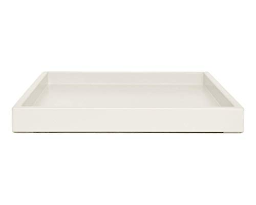 Cream Off White Coffee Table Ottoman Serving Tray without Handles Low Profile Shallow Decorative Butler Server Medium to Extra Large