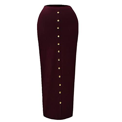 Otoño largo cintura alta botón bodycon falda mujer