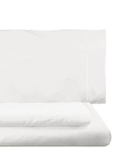 Home Royal - Juego de Funda nórdica, 270 x 260 cm, Bajera, 280 x 280 cm, 2 Fundas para Almohada, 45 x 110 cm, Color Blanco