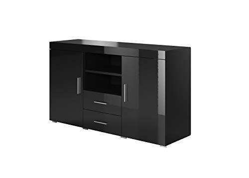 Muebles Bonitos | Aparador Moderno Roque | Ancho 140cm x Alto 80 cm x Profundo 40 cm | Mueble de Melamina Brillo | Color Negro