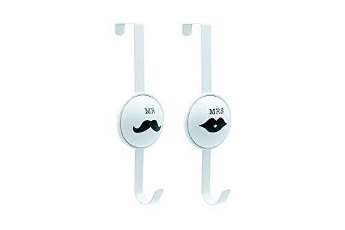 Appendiabiti da porta per LUI e per LEI, Attaccapanni da Porta Bianco da 28 CM con 4.7 cm di profondità (Insieme)