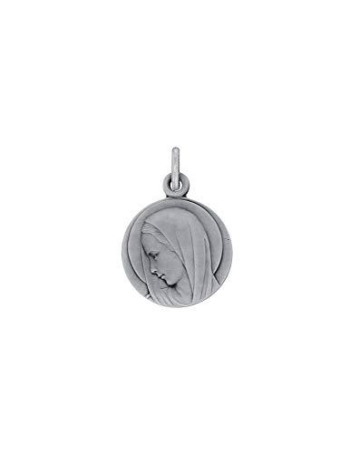 Medalla redonda Virgen María en plata rodio