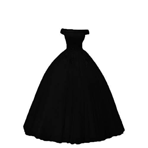 Women's Appplique Ball Gowns for Wedding Off Shoulder Quinceanera Dresses AL058 Black