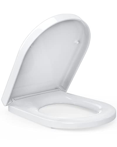 Pipishell Soft Close Toilet Seat with Quick Release, Simple Top Fixing, Heavy Duty UF Material Anti-Bacterial Toilet Seats White with Adjustable Stainless Hinges, D Shape U Shape Toilet Lid Loo Seat