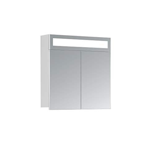 HAPA Design Spiegelschrank Miami weiß mit LED Beleuchtung in Lichtfarbe 4500K, VDE Steckdose, Softclose Funktion und verstellbaren Glas Ablagen. Komplett vormontiert. SGS geprüft. (60 x 60 x 14 cm)