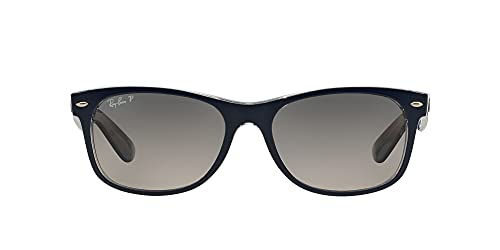 Ray-Ban New Wayfarer, Occhiali da sole, unisex ,Top Blue On Trasparent (Top blu su trasparente), 55 mm