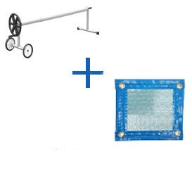 Pack Couverture Thermique (COUVREUR TERMIQUE - COUVERTURE ISOTÉRMIQUE - COULEUR POUR PISCINE) de 500 microns SOLAIRE ENERGY AVEC RÉFORT TOUT LE CONTORN (12x4.5m) + ENROLLLAGE TELESCOPIQUE de 81 mm.