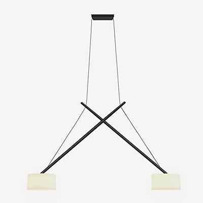 Serien Lighting Twin Pendelleuchte, Schirm Echtglas, Chrom glänzend