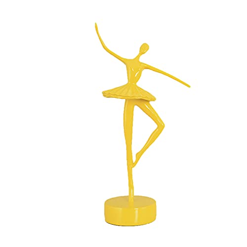 LGYKUMEG Esculturas De Adornos Art Deco, Elegante Figura De Bailarina, Mejor Regalo para Niña, Decoración del Hogar, Adorno De Escritorio,Amarillo