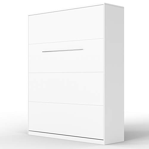 SMARTBett Standard 160x200cm Vertical Blanco Cómodo | Cama Abatible, Cama De Pared, Cama Plegable, Cama Oculta