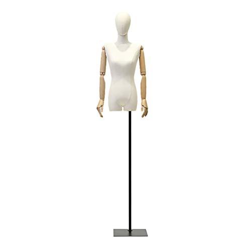 CAIJUN Maniquí, Torso De Plástico Hueco PE Cubierta De Tela De Lino con Brazo De Madera Forma del Vestido Exhibición De Ropa para De Coser Tienda, 3 Colores (Color : Black, Size : Small-Size)