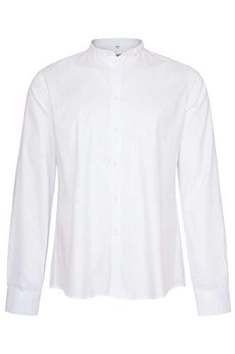 Gottseidank Herren Trachten Stehbundhemd Slim weiß gestreift, 100-REINWEIß, M