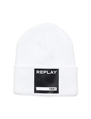 Replay Unisex AX4166.000.A7003 Strickmütze, Weiß (Optical White 1), One Size (Herstellergröße: UNIC)