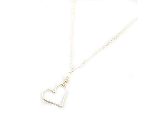 Collar con colgante de corazón chapado en oro, collar de corazón, joyería de amor, collar de corazón chapado en oro y perlas para el día de San Valentín