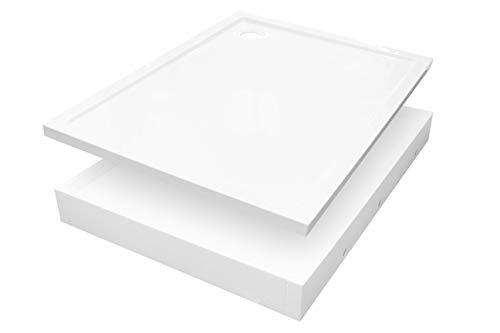 Plato de ducha con soporte de poliestireno, cuadrado, rectangular, estándar, blanco, 17 cm de alto, Senta New (70 x 90 x 4,5/17)