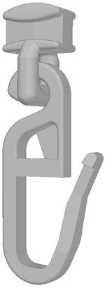 Gardineum 100 Gardinenhaken-Gleiter (925P) m. bewegl. Faltenhaken f. 4 mm Läufe Gardinenzubehör