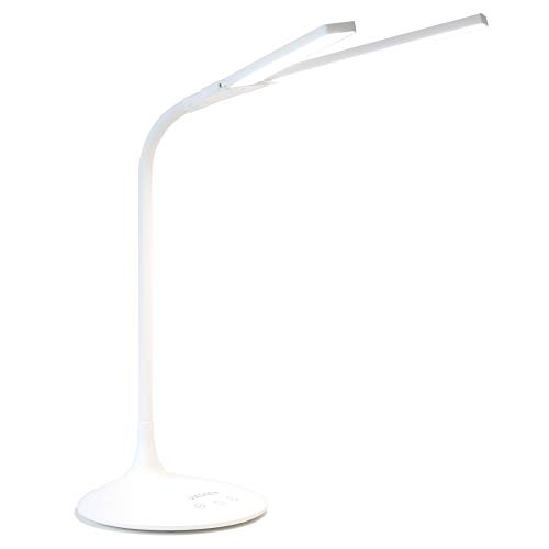 VASNER Splitty Design LED Schreibtischlampe, V-Leuchtarm, dimmbar, weiß, verschiedene Farbtemperaturen, flexibler Schwenkarm, Timer, [Energieklasse A++]