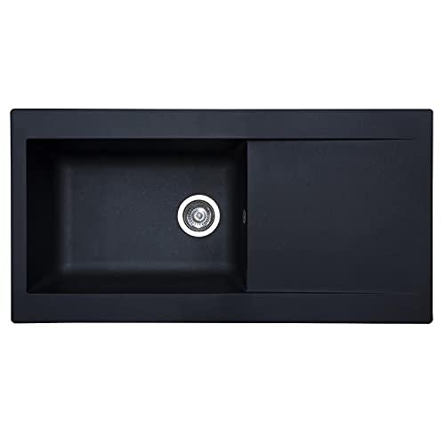 SIA DELTA10BL 1.0 Bowl Black Composite Reversible Inset Kitchen Sink & 90mm Basket Strainer Waste Kit W1000 x D500