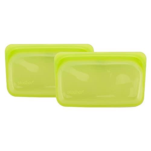 [ スタッシャー ] Stasher シリコーンバッグ スナック Sサイズ 293.5mL 2個セット 食品 保存容器 ライム Lime 電子レンジ オーブン 耐熱 冷凍 Snack 293.5ML/9.9oz STMK05 [並行輸入品]