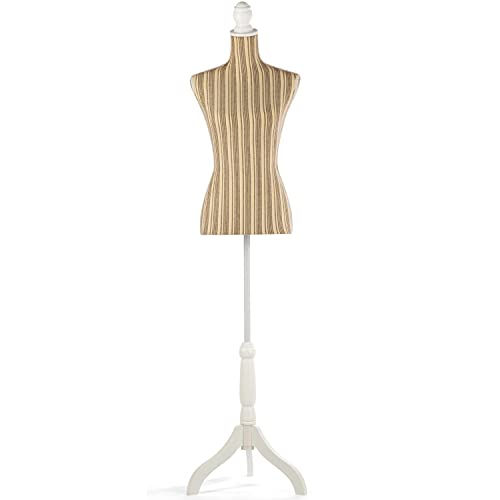 Grande Juguete Female Dress Form Pinnable Mannequin Body Torso with Adjustable Wooden Tripod Base Stand for Clothes Dress Jewelry Display(Gray Line)