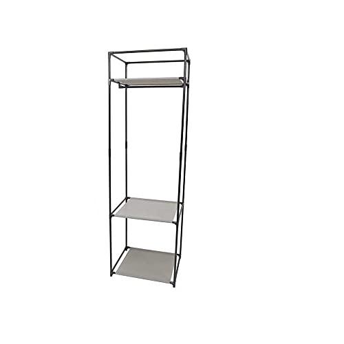Novohogar Perchero Estantería Organizador de Metal y Tela. 1 Barra para Colgar y 3 Estantes para Organizar la Ropa