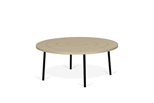 TemaHome Couchtisch Ply 80 Table basse, placage de chêne, Noir, 80 x 80 x 35 cm
