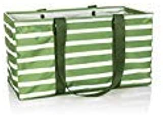 Thirty One Large Utility Tote - 3121 - No Embroidery - in Green Cabana Stripe