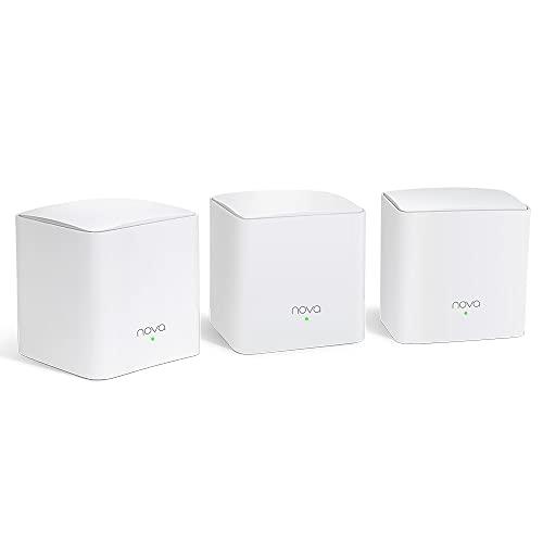 Tenda Nova MW5c - WLAN-Mesh-System für Home-Office und Smart Home (3er Set, WLAN-Abdeckung bis 325 m², ideal für kleine bis mittlere Wohnungen/Häuser, 6X Gigabit-Ports, Ersetzt Router & Repeater)