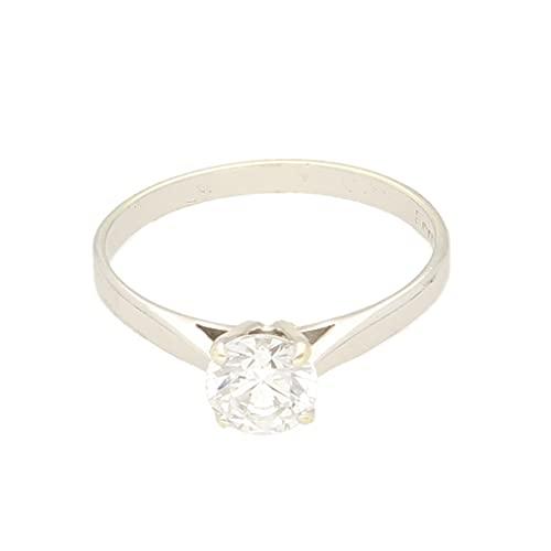 Anillo solitario de oro blanco de 9 quilates para mujer (tamaño O), cabeza de 6 mm, anillo de lujo para mujer