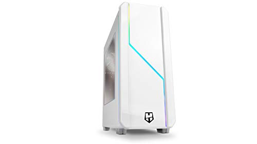 Nox Hummer MC PRO ARGB -NXHUMMERMCPROW- Caja PC, Semi-Torre, tira LED ARGB Rainbow, ventana lateral acrílica, Blanca
