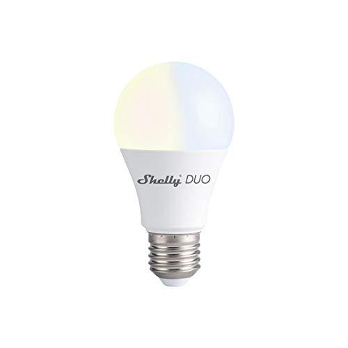 Shelly Duo Smart-LED-Leuchtmittel, WLAN, Sprachsteuerung, kompatibel mit Alexa und Google Home, warmes und kaltes Licht, 2500 K bis 6500 K, dimmbar, 9 W, 800 lm, E27-Sockel