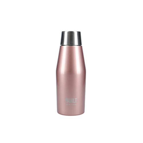 BUILT Apex Botella de agua aislada con tapa de sellado perfecto a prueba de fugas, a prueba de sudor, 100% reutilizable, sin BPA, frasco de acero inoxidable 18/10, oro rosa, 330 ml